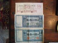 2 x 100 Reichsmark, 1910-- 50 Millionen R.M. 1923