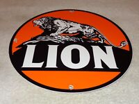 "VINTAGE ""LION GAS ROAR WITH GILMORE"" 11 3/4"" PORCELAIN METAL GASOLINE & OIL SIGN"
