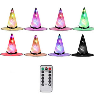 8PCS Halloween Hanging Lighted Glowing Witch Hats Outdoor Decoration Lights
