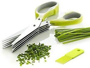 Multi Blade Herb Scissors Set with Cover Multipurpose Cutting, Shredding Cooking