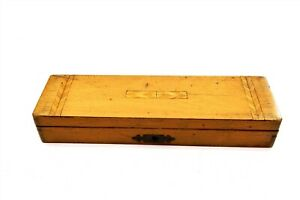 Antique Wooden Pencil / Pen Box with Inlaid Design on Top (n7)