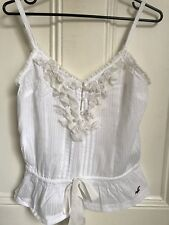 HOLLISTER WHITE RUFFLE FRILL CAMI VEST TOP SIZE SMALL