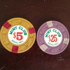 New listing Lot Of 2 Mint Club Casino Chips From Reno Nv