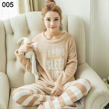 M Women Girl Warm Winter Flannel Coral Velvet Nightgown Sleepwear Pajamas Set