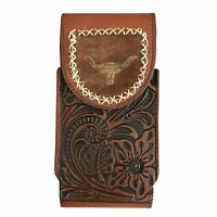 Western Genuine Leather Belt Phone Case Cowboy Phone Holder Holster Longhorn