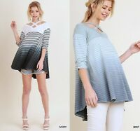 SML UMGEE IVORY or MINT Striped Ombre X Front straps knit Top/Blouse/Shirt  BHCS