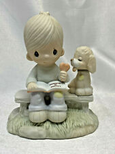 1979 Precious Moments Loving Is Sharing Boy or Girl & Dog Heart E-3110/B Cross