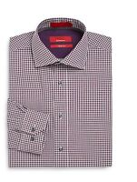 Men's Saks Fifth Avenue Red Dress Shirt Trim Fit Gingham Plum 14.5 to 17.5 NEW