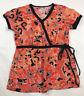 Koi By Kathy Peterson Women Scrub Top XS Floral Hearts Black Blu Nurse CNA Shirt