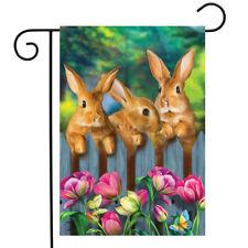 "Garden Bunnies Peeking Over a Wooden Fence at Tulips garden Flag 12 1/2"" X 18"""