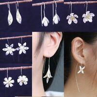 Silver Plated Dangle Drop Earrings Ear Hook Flower Women Fashion Jewelry Gift