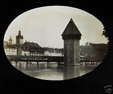 Glass Magic lantern slide LUCERNE - THE OLD WOODEN BRIDGE C1890 SWITZERLAND