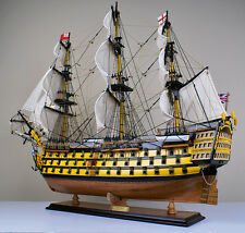 "HMS Victory 34"" model wood ship British navy wooden tall ship sailing boat"