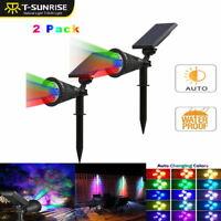 2PCS Solar Panel 4-LED Flood Spot Light RGB Garden Yard Lawn Lamp Waterproof