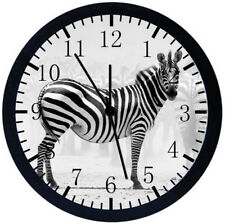 Beautiful Zebra Black Frame Wall Clock Nice For Decor or Gifts Y92