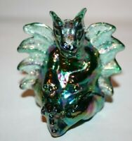 Vintage Fenton Glass Limited Edition Emerald Green Iridized Carnival Winged Drag