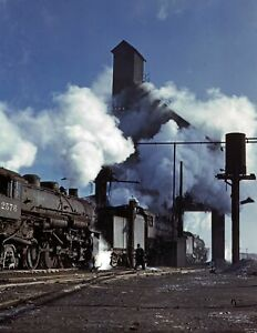 """1942 Locomotive Over the Roundhouse Ash Pit, IL Old Photo 8.5"""" x 11"""" Reprint"""
