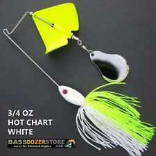Buzzbait CHOPPER 3/4 oz HOT CHART WHITE buzz bait buzzbaits. KVD trailer hook