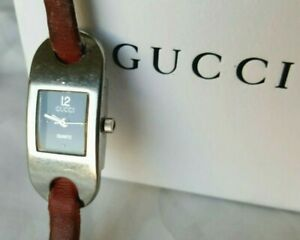 Gucci Watch Works Silver And Black With Brown Band Womens Vintage