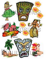 Sexy Tiki Hawaiian Pinup Girl Rockabilly Guitar Decal Stickers #218