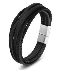 Men's Genuine Leather Handmade Braided Bracelet Wristband Black Brown