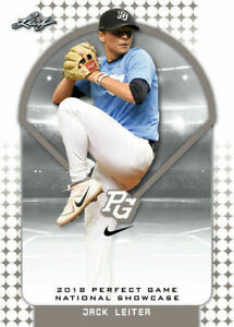 """JACK LEITER 2018 """"1ST EVER PRINTED"""" LEAF PERFECT GAME ROOKIE CARD!"""