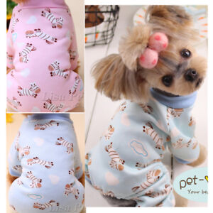 Dog Pajamas Extra Small Clothes Cotton Jumpsuit Shirt Sleepwear XS S M L Maltese