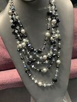 Vintage Black Crystal 5 Multi Strand Chain Waterfall Long Bib Statement Necklace