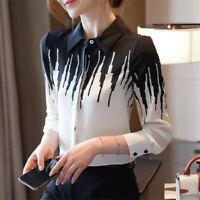 Autumn Women Long Sleeve Colorblock Button Down Shirt Career Workwear Blouse Top