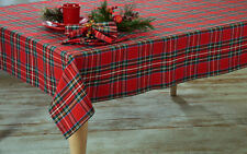 """Shimmering Gold Red Green Plaid Winter Christmas Decor Tablecloth 60""""x 84"""" OVAL"""