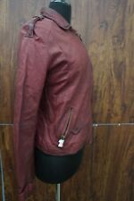 Doma Women's Red Belted Cuffs Leather Jacket - MSRP $656 - SIZE GG