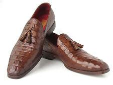 Paul Parkman Men's Brown Crocodile Embossed Calfskin Tassel Loafer (ID#PP2281-BR