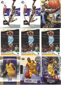 KOBE BRYANT 9-CARD LOT FROM 2005-06 SP AUTHENTIC #38, UD #83, TOPPS #69, UD SLAM