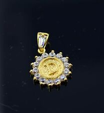 22k Jewelry Solid Gold Round Shape Pendent D letter Modern Design p304