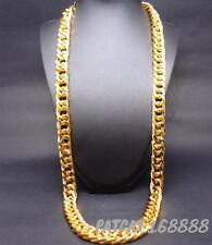 SOLID HEAVY 24K YELLOW GOLD FINISH 13mm 30 INCHES RAPPERS MIAMI CUBAN LINK CHAIN