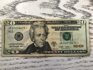RARE 20 dollar bill star note 2009 low serial number JK00078675* circulated