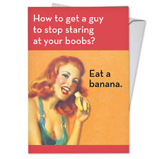 C3996Bdg Hilarious Single Birthday Greeting Card: Eat A Banana with Envelope