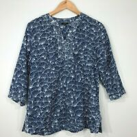 Talbots Petites 3/4 Sleeve Popover Top Blouse Womens M Blue White Shell Print