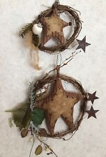 PAIR Grapevine TWIG & FABRIC STAR Wreath Primitive Rusty Berry Bell Pine Country