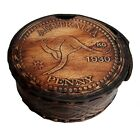 AUSTRALIA PENNY NAUTICAL VINTAGE ANTIQUE BRASS POEM COMPASS WITH LEATHER CASE