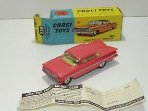 Corgi 220 CHEVROLET IMPALA ( 286 ) PINK WITH LEMON INTERIOR
