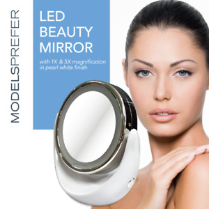 1x 5x Magnifying Makeup Cosmetic Beauty Bathroom Mirror with LED Light 360° Spin