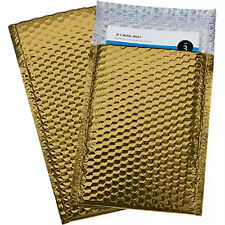 250 #0 Glamor Metallic Gold Poly Bubble Mailers Envelopes Bags 6x10 DVD Wide CD