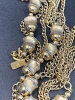 "VINTAGE Monet Gold Tone Chain 54"" LONG Necklace SIGNED Deco Bead Link"