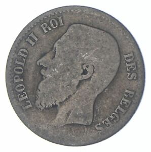 SILVER Roughly the Size of a Quarter 1867 Belgium 1 Franc World Silver Coin *318