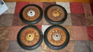 4 Vintage Garton Artillery Wheels Wagon Pedal Car old antique