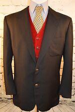Oxxford Clothes Black 2 Button Sport Coat Wool Medallion Btn Blazer 44 Long