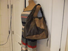"Jessica Simpson Brown Faux Leather Patchwork Design Hobo Handbag - 14"" x 14"""