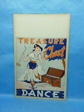Treasure Chest Dance Girley Pirate Cheesecake  Graphic 1950s Poster Original
