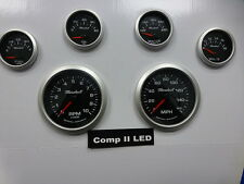 Marshall 6 Gauge Set Comp 2 LED Electric Speedo Black Dial Alu Bezel Sport Comp